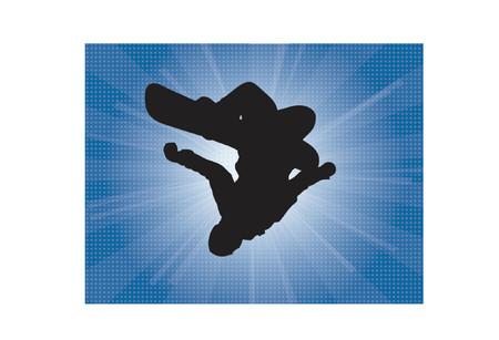 freeride: Silloutte una ilustraci�n de un snowboarder invertida con una explosi�n de fondo de invierno
