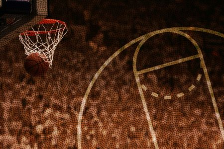 Basketball background with made basket on the left and court pattern on the right Stock Photo