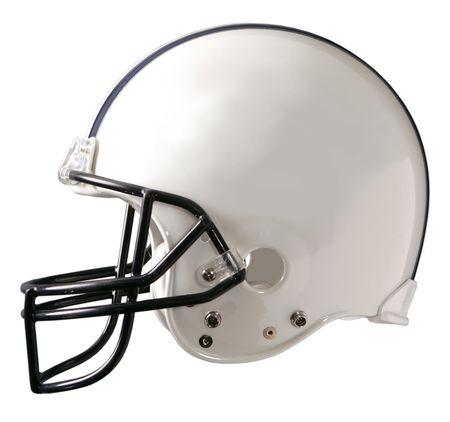 football helmet: A generic white football helmet Stock Photo