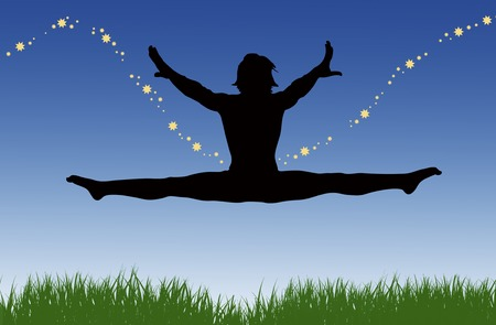 grassy: An illustration of a woman JumpingFlying through the grassy fields with stardust trailing behind