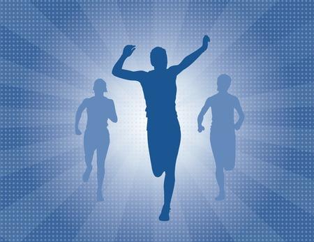 Runner winning the race with sunburst blast in the background Illustration