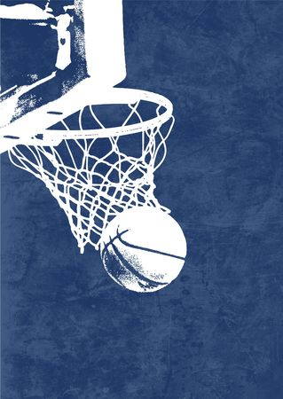 A silouette of a basketball going in a basket with a rough blue background