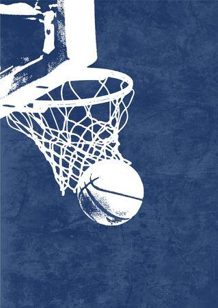 panier basketball: Une silouette d'un cours de basket-ball dans un panier avec un fond bleu bruts