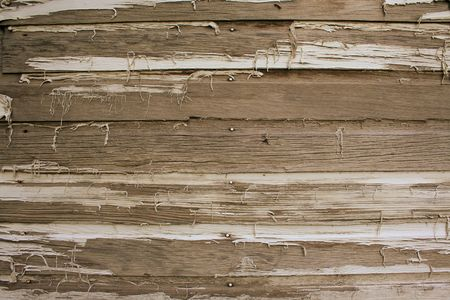 Old rustic wood with peeling paing Stock Photo