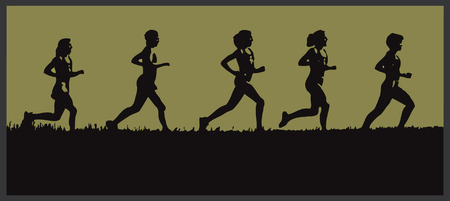 A Silouette of a group of runners on a grassy horizon Ilustração