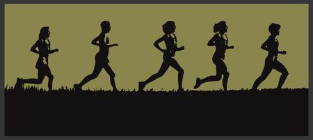 rythme: La silhouette d'un groupe de coureurs en herbe sur un horizon
