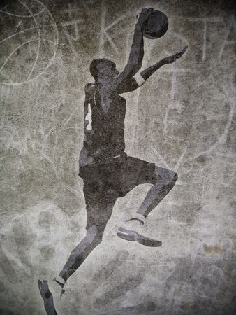 A basketball player dunking with graffiti street background