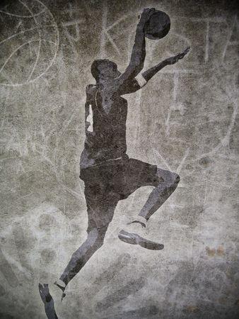 canestro basket: Un giocatore di basket inzuppando con graffiti di fondo stradale