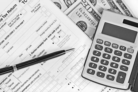 deduct: Taxes and finances Stock Photo