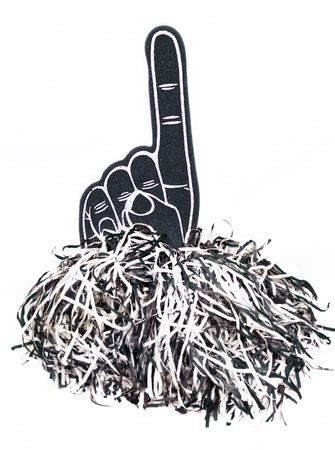 pom: A No. 1 foam finger fan toy and pom poms isolated on a white background. These are objects that show team or school spirit