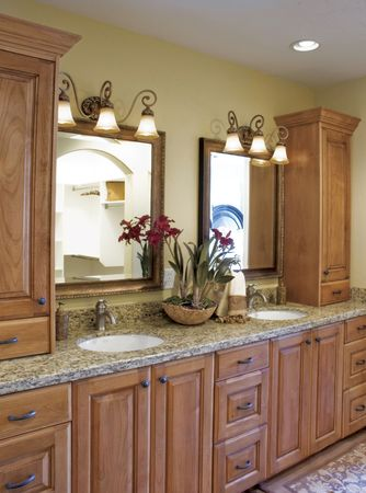 The interior of a rustic country Bathroom featuring an built-in wooden cabinetry Stok Fotoğraf - 2551280