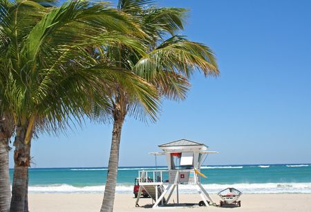 ft lauderdale: Beach Lifeguard tower with Caribbean blue water in the background and palm trees in the foreground
