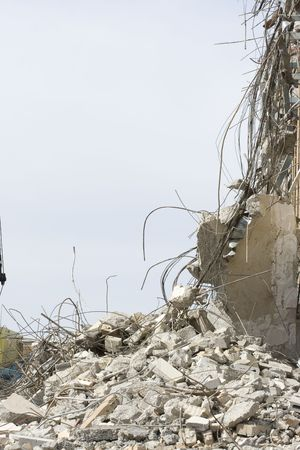 A close view of debris from a building demolition with plenty of room for copy