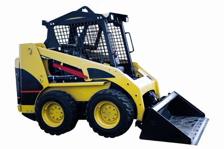 A yellow Bobcat skid loader isolated on a white background