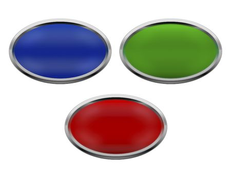 luster: Metallic Web Icon buttons (Green, red and blue) dimensional