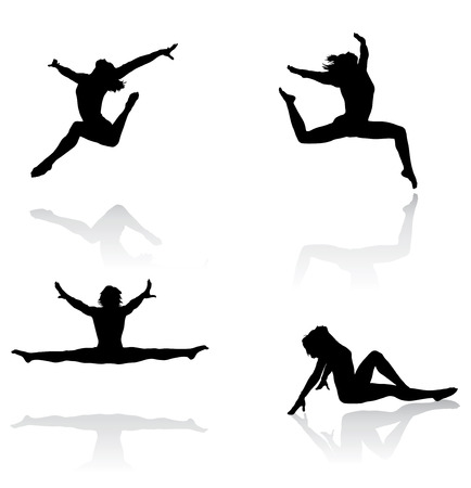 gymnastics sports: Vector illustrations of active females jumping and moving in a very athletic manner
