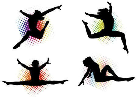 점프 하 고 아주 운동 방식으로 이동하는 활성 여성의 벡터 일러스트