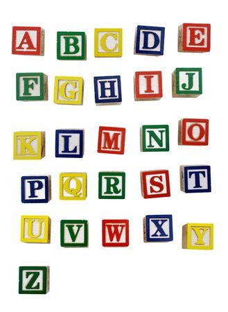 bloques: Bloque de madera coloridas letras aisladas sobre fondo blanco Foto de archivo
