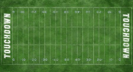 A textured grass football field with boundary markings Stock Photo