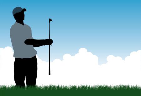 hitting: Una illustrazione vettoriale di un giocatore di golf che colpisce di un bunker di sabbia o di trappola