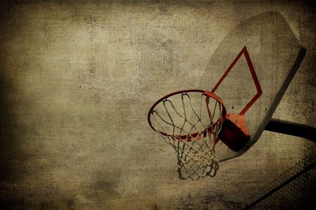 hoops: A grunge basketball basket background. Lots of Copy space room and cool sepia filter feel.