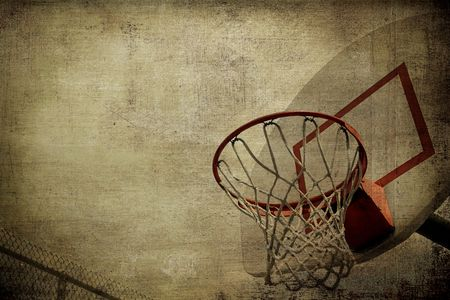 basketball hoop: A grunge basketball basket background. Lots of Copy space room and cool sepia filter feel.