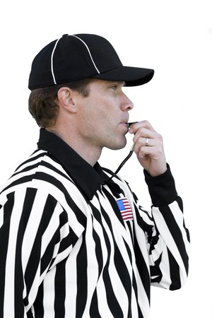 exhibiting: Referee Blowing the Whistle Stock Photo