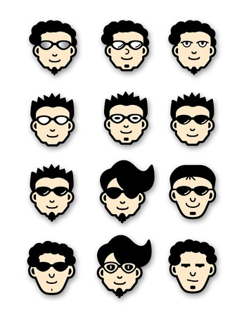 Vector illustration of Twelve different head icons of cool dudes illustration