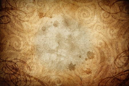 grunge textures: A burnt edge, grunge background with ornamental patterns burned into the texture Stock Photo