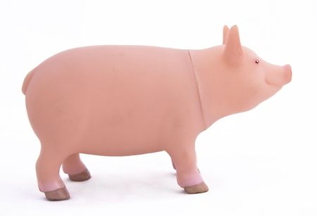 The side view of a plastic toy pig isolated on a white background photo