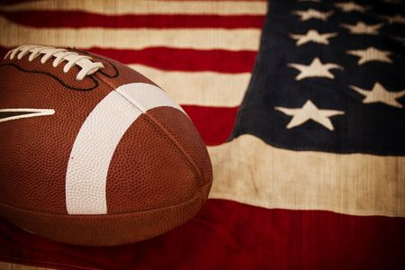 football on an faded, old American flag photo