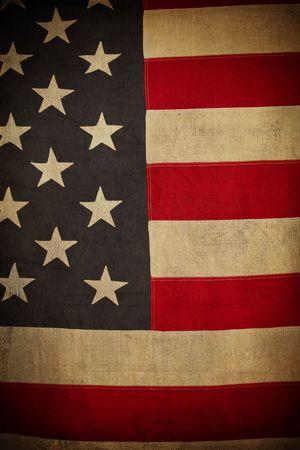 antiqued: Grunge American Flag Background Stock Photo