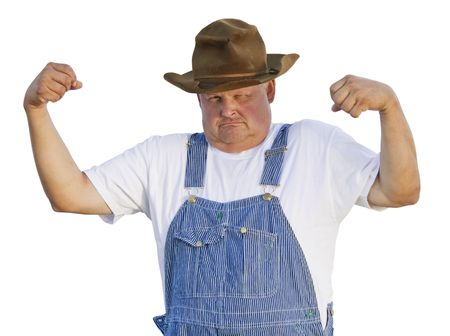 brawny: Funny Old Man Flexing Muscles Stock Photo