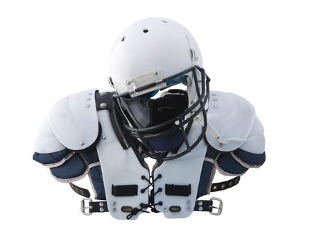 the padding: Football Helmet and shoulder Pads