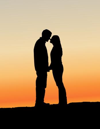Baisers de couple silhouette  Banque d'images - 6152321