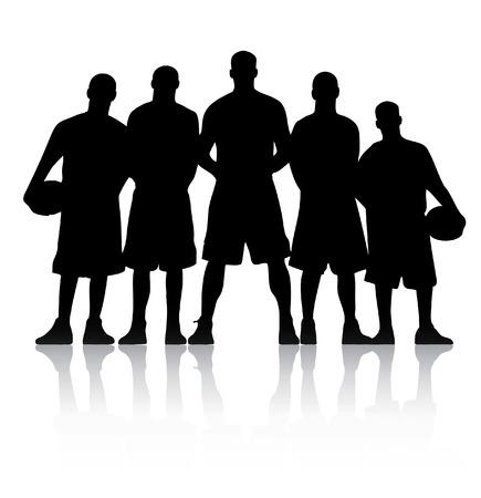 Basket bal team silhouet Stock Illustratie
