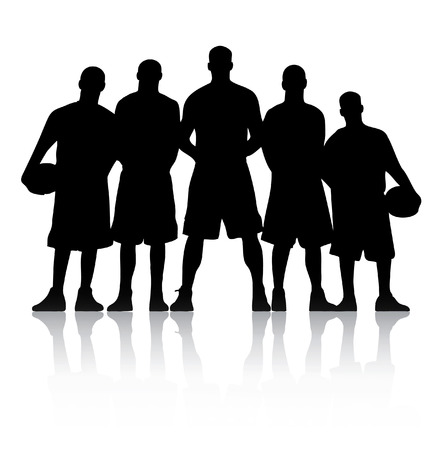 team victory: Basketball Team Silhouette Illustration