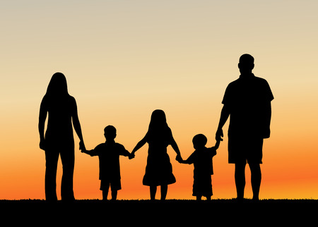 holding hand: Family at Sunset vector illustration Illustration