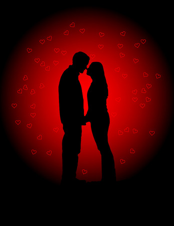 hand touch: Valentines Lovers Vector Illustration Illustration