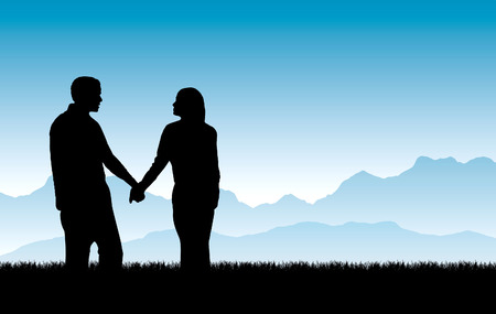A vector illustration of a loving couple walking together hand in hand with a beautiful mountain sunrise in the background