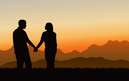Vector Illustration of a couple holding hands looking at a beautiful mountain sunset Çizim