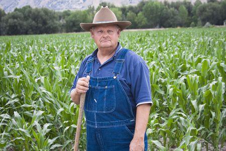 overol: Antiguos agricultores en sus campos de trabajo  Foto de archivo