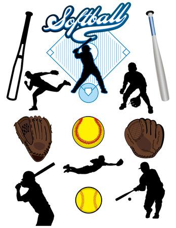 Una colección de elementos de Softbol ilustrada. Batts, bolas, atletas, manoplas o guantes