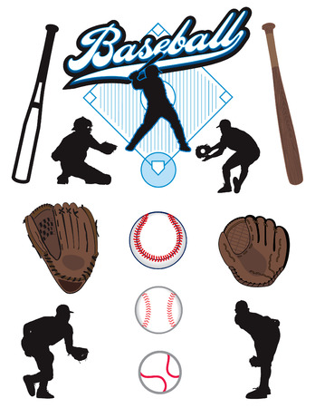 A collection of illustrated baseball elements. Batts, balls, athletes, mitts or gloves  Çizim