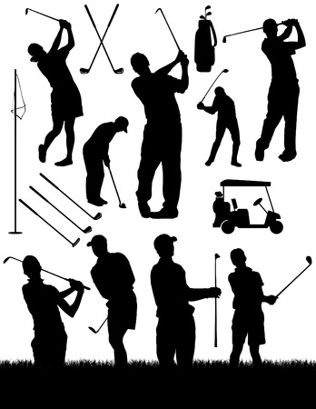 golf drapeau: Golf �l�ments silhouettes
