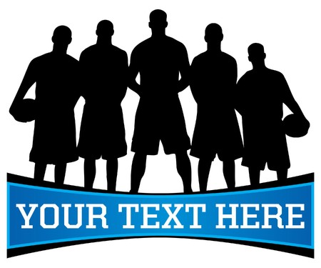 huddle: basketball team silhouette with copy space for text below Stock Photo
