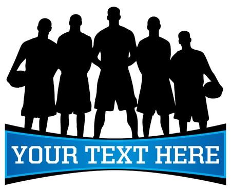basket: silhouette di squadra di basket con copia spazio per il testo qui sotto
