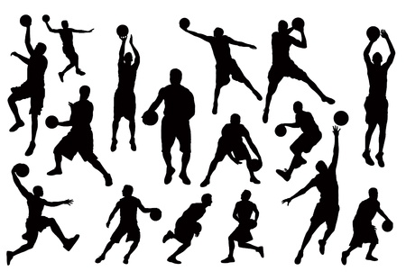 nba: Silhouettes of Basketball Players Vector