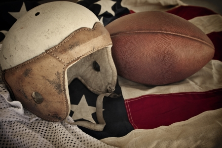 athletic gear: Vintage Leather Football Helmet background Stock Photo