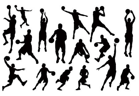 rebound: Basketball Players Silhouettes